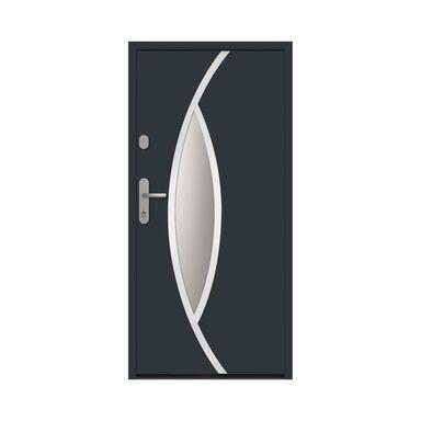 Drzwi zewnętrzne stalowe antywłamaniowe RC2 Ottawa 90 prawe antracyt Loxa