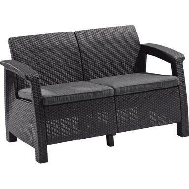 Sofa ogrodowa 2-osobowa CORFU antracytowa ALLIBERT