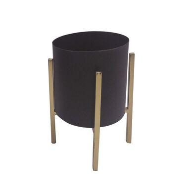 Osłonka na metalowym stojaku śr. 12 cm czarno-złota MODERN