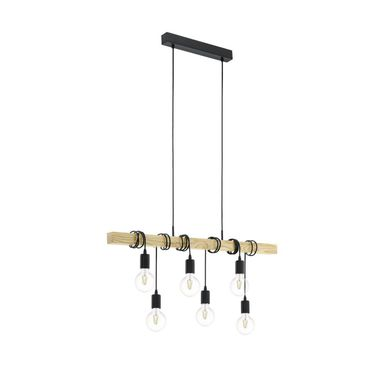 Lampa wisząca TOWNSHEND czarna z drewnem E27 EGLO