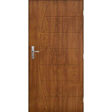 Drzwi zewnętrzne stalowe antywłamaniowe RC3 Metz 90 prawe złoty dąb Pantor