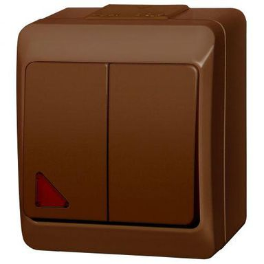 Włącznik podwójny z podświetleniem HERMES  brązowy  ELEKTRO - PLAST