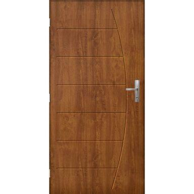 Drzwi zewnętrzne stalowe antywłamaniowe RC3 Metz Złoty Dąb 90 lewe  Pantor