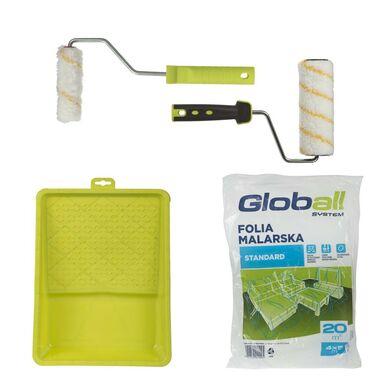 Zestaw malarski uniwersalny 6 części (2 wałki z rączkami, kuweta, folia) GLOBALL