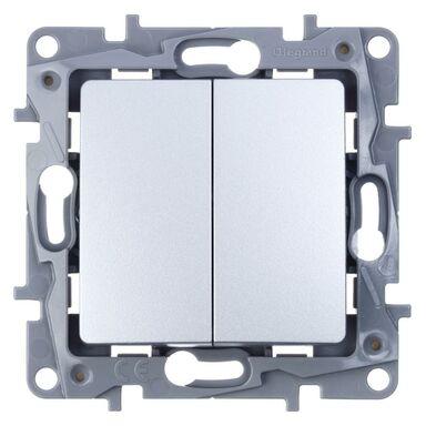Włącznik schodowy podwójny NILOE  aluminium  LEGRAND