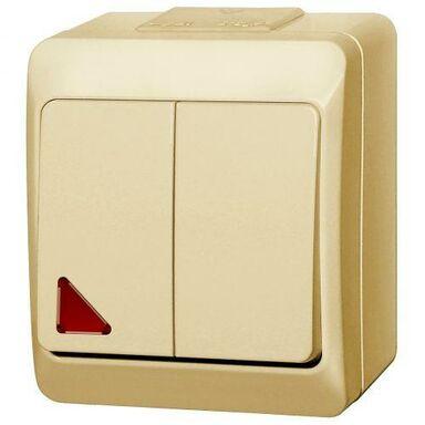Włącznik podwójny z podświetleniem HERMES  Kremowy  ELEKTRO - PLAST