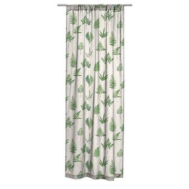 Zasłona bawełniana w liście Elechal biało-zielona 140 x 265 cm tunel Inspire