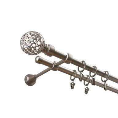 Karnisz KULA RETRO 240 cm podwójny chrom 16 mm metalowy