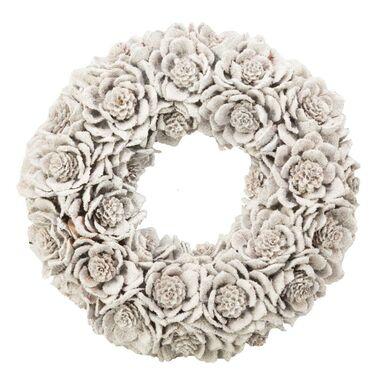 Wianek świąteczny 32 cm bożonarodzeniowy biały