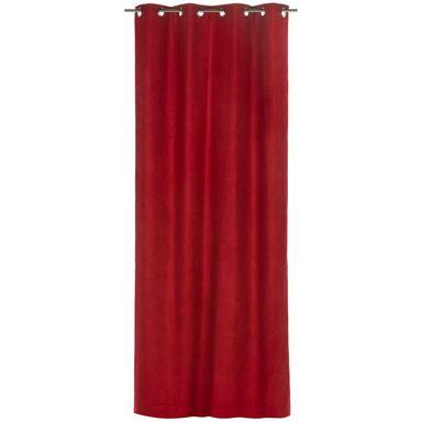 Zasłona SUEDE czerwona 140 x 260 cm na przelotkach INSPIRE