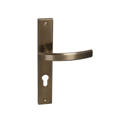 Klamka drzwiowa z długim szyldem do wkładki FIUME 72 Mosiądz antyczny INSPIRE
