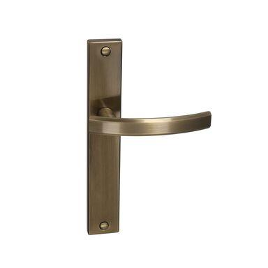 Klamka drzwiowa z długim szyldem FIUME 72 Mosiądz antyczny INSPIRE