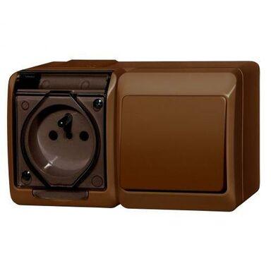 Gniazdo pojedyncze 2P+Z + włącznik schodowy 2P+Z HERMES  brązowy  ELEKTRO - PLAST