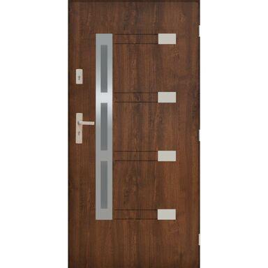 Drzwi zewnętrzne stalowe NIMES Orzech 90 Prawe PANTOR
