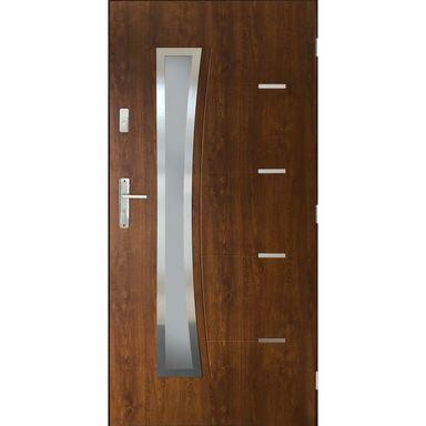 Drzwi zewnętrzne stalowe LYON Orzech 90 Prawe PANTOR