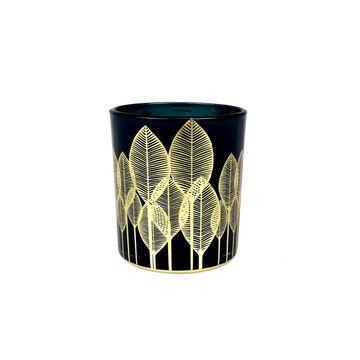 Świecznik szkalny na świeczkę wys. 8 cm niebiesko-złoty
