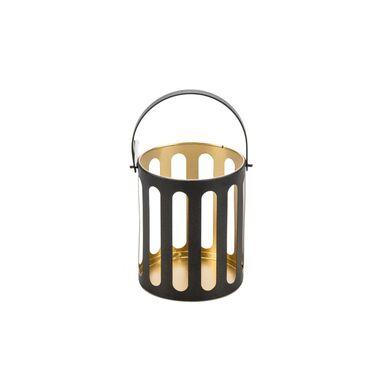 Świecznik lampion metalowy na świeczkę wys. 13 cm czarno-złoty