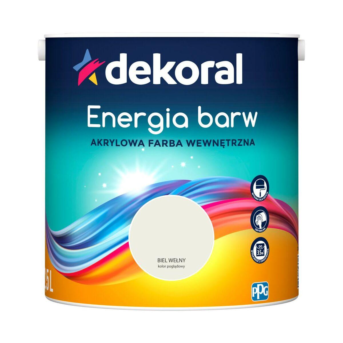 Farba Wewnętrzna Energia Barw 25 L Biel Wełny Dekoral