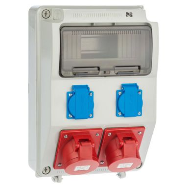 Rozdzielnia siłowa RS 1 / 9 6221 - 00 / 2 X 2P + Z 2 X 3P + N + Z 16A ELEKTRO - PLAST