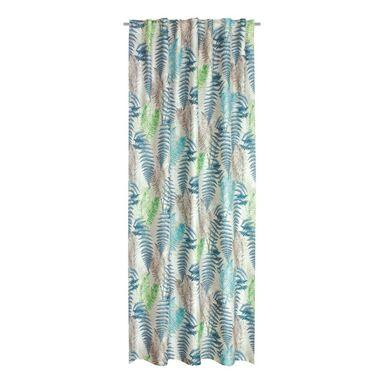 Zasłona FERN niebieska 160 x 250 cm na taśmie w liście