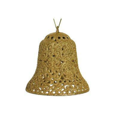 Zawieszka dzwonek brokatowy 15 cm złoty