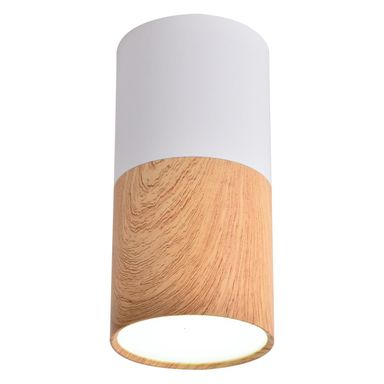 Oprawa natynkowa TUBA IP20 śr. 5.8 cm biało-drewniana LED CANDELLUX