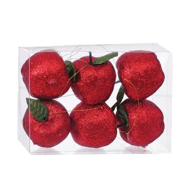 Zawieszka jabłka w brokacie 5 cm 6 szt. Czerwone