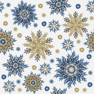 Serwetki świąteczne SNOWFLAKES niebieskie 33 x 33 cm 20 szt.