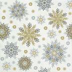 Serwetki świąteczne SNOWFLAKES srebrno-złote 33 x 33 cm 20 szt.