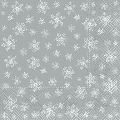Serwetki świąteczne STARS EVERYWHERE srebrne 33 x 33 cm 20 szt.