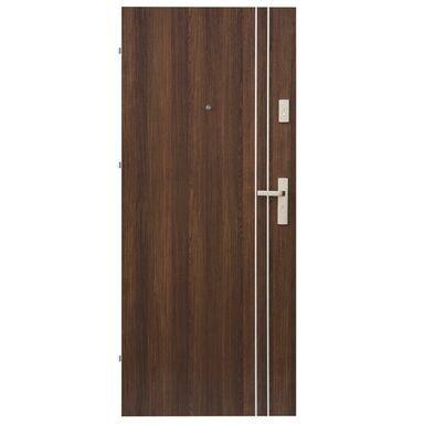 Drzwi zewnętrzne drewniane Iryd 01 orzech premium 90 Lewe Domidor