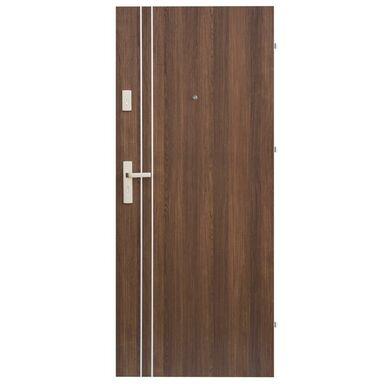 Drzwi zewnętrzne drewniane Iryd 01 orzech premium 90 Prawe Domidor