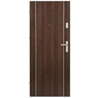 Drzwi zewnętrzne drewniane Iryd 02 Orzech premium 80 Lewe Domidor