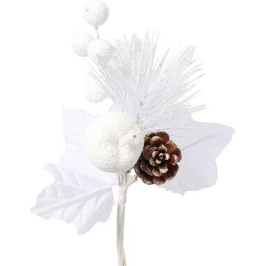 Gałązka szyszka 21 cm 1 szt. białe