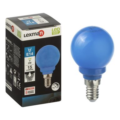 Żarówka dekoracyjna LED E14 (230 V) 1 W 15 lm niebieska LEXMAN