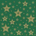 Serwetki świąteczne BEAUTIFUL STARS zielone 33 x 33 cm 20 szt.