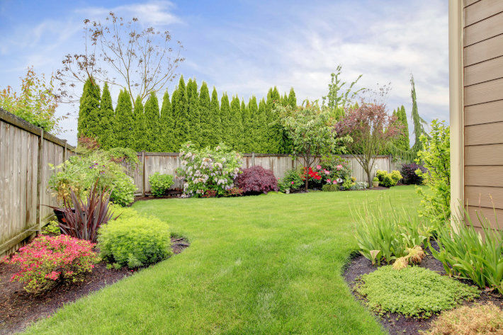 Przydomowy ogród z drewnianym ogrodzeniem i przylegającą roślinnością.
