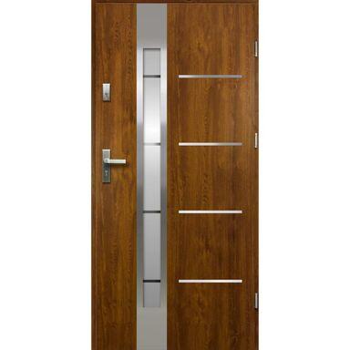 Drzwi zewnętrzne stalowe ADRIANA Złoty dąb 80 Prawe OK DOORS TRENDLINE