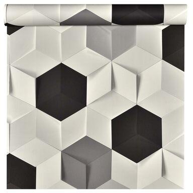 Tapeta 3D INA biało-czarna winylowa na flizelinie