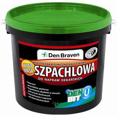 Masa szpachlowa do napraw dekarskich DEN BIT-U 1 kg bitumiczno-kauczukowa DEN BRAVEN