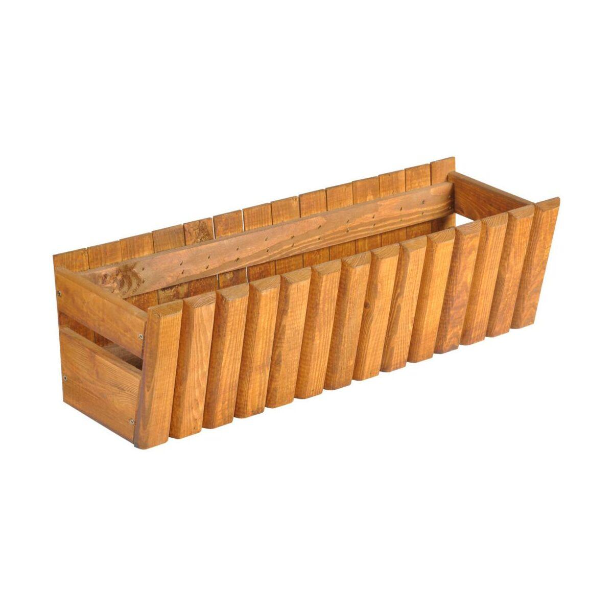 Doniczka Balkonowa 60 X 20 Cm Drewniana Brązowa Stokrotka Sobex