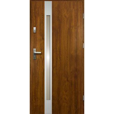 Drzwi zewnętrzne stalowe  TEMIDAS Złoty dąb 80 Prawe