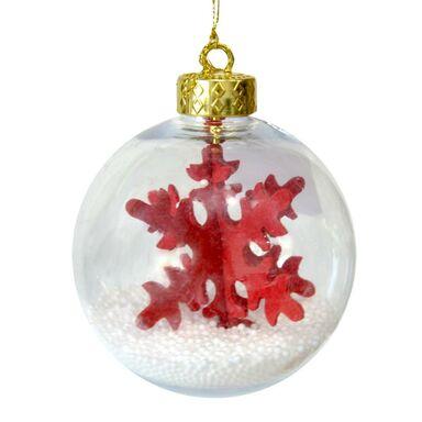 Bombka plastikowa czerwona śnieżynka 10 cm 1 szt.