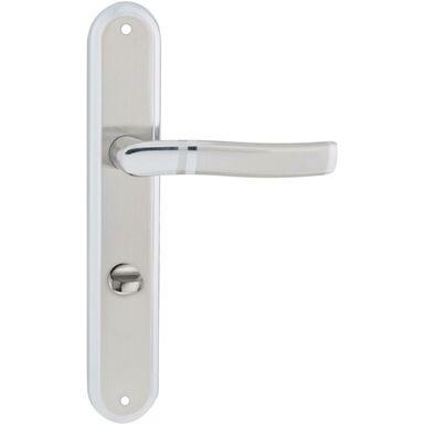 Klamka drzwiowa z długim szyldem do WC PLEJADA 72 Chrom satyna