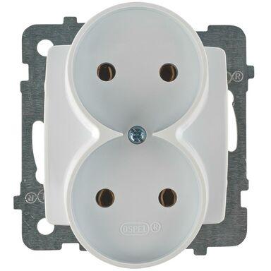 Gniazdo podwójne 2 x 2P KARO  biały  OSPEL