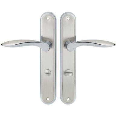 Klamka drzwiowa z długim szyldem do WC BLANKA 72 Chrom satyna