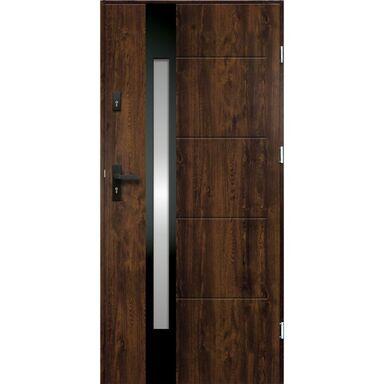 Drzwi zewnętrzne stalowe ARIADNA Orzech 80 Prawe
