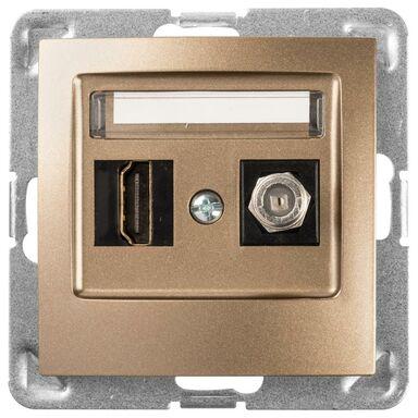 Gniazdo telewizyjno - komputerowe F/HDMI IMPRESJA Złoty OSPEL