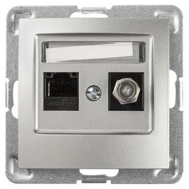 Gniazdo telewizyjno - komputerowe F/LAN IMPRESJA Srebrny OSPEL
