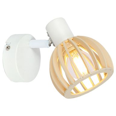 Reflektorek ATARRI biały z drewnem E14 CANDELLUX